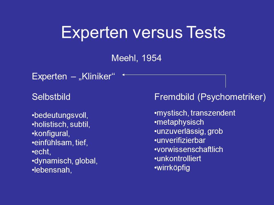 """Experten versus Tests Experten – """"Kliniker'' SelbstbildFremdbild (Psychometriker) bedeutungsvoll, holistisch, subtil, konfigural, einfühlsam, tief, echt, dynamisch, global, lebensnah, mystisch, transzendent metaphysisch unzuverlässig, grob unverifizierbar vorwissenschaftlich unkontrolliert wirrköpfig Meehl, 1954"""