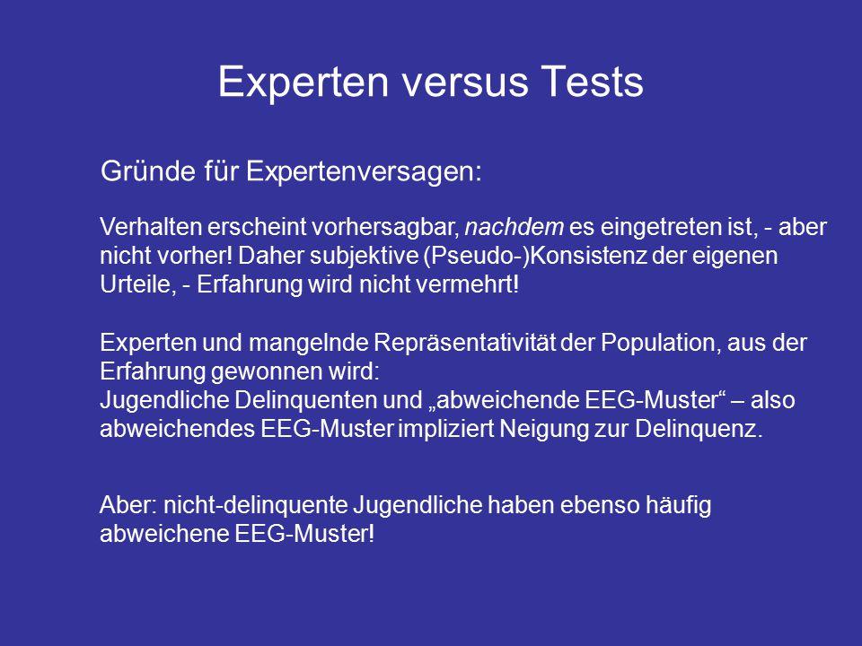 Experten versus Tests Gründe für Expertenversagen: Verhalten erscheint vorhersagbar, nachdem es eingetreten ist, - aber nicht vorher.
