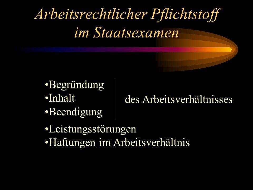 Arbeitsrechtlicher Pflichtstoff im Staatsexamen Begründung Inhalt Beendigung Leistungsstörungen Haftungen im Arbeitsverhältnis des Arbeitsverhältnisses