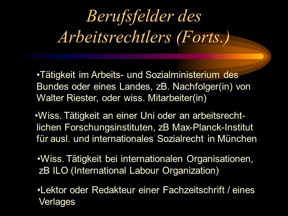 Berufsfelder des Arbeitsrechtlers (Forts.) Tätigkeit im Arbeits- und Sozialministerium des Bundes oder eines Landes, zB.