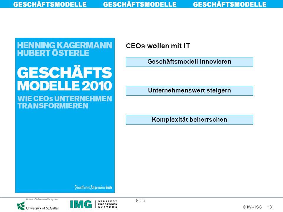 18 © IWI-HSG Seite CEOs wollen mit IT Unternehmenswert steigern Geschäftsmodell innovieren Komplexität beherrschen