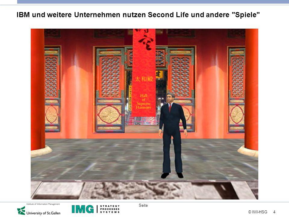 4 © IWI-HSG Seite IBM und weitere Unternehmen nutzen Second Life und andere Spiele