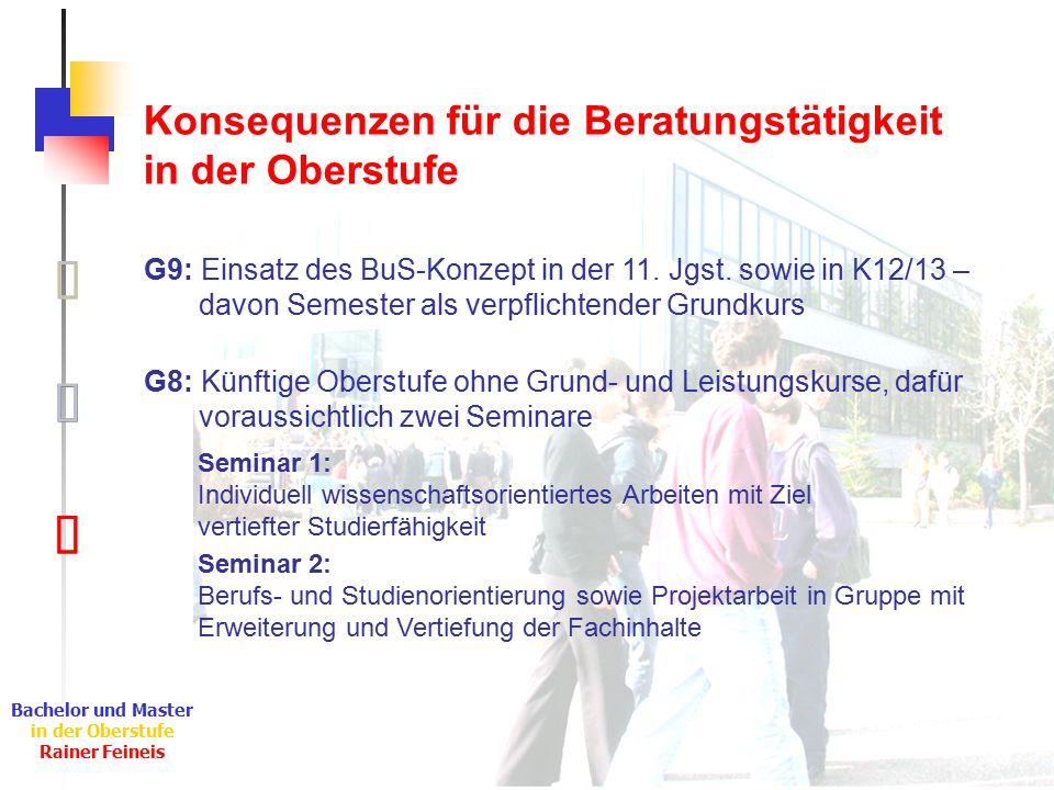 Ê Ë Ì Bachelor und Master in der Oberstufe Rainer Feineis Konsequenzen für die Beratungstätigkeit in der Oberstufe Ì G9: Einsatz des BuS-Konzept in der 11.