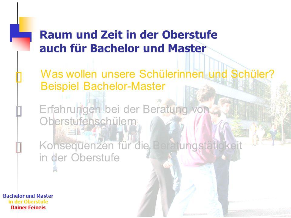 Ê Ë Ì Bachelor und Master in der Oberstufe Rainer Feineis Raum und Zeit in der Oberstufe auch für Bachelor und Master Was wollen unsere Schülerinnen und Schüler.