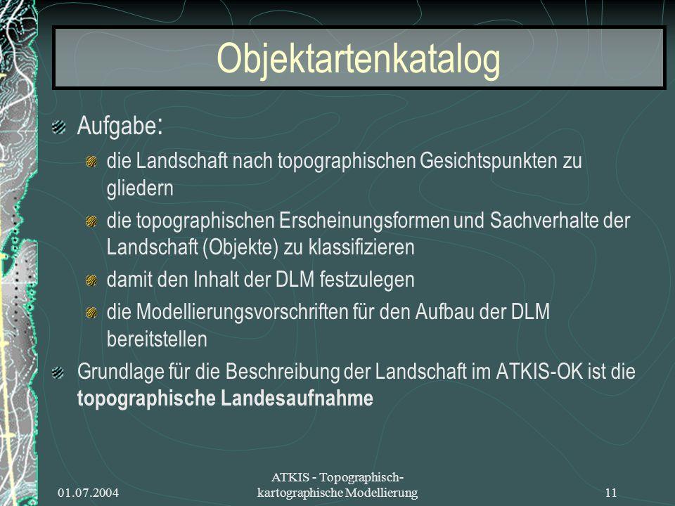 01.07.2004 ATKIS - Topographisch- kartographische Modellierung11 Objektartenkatalog Aufgabe : die Landschaft nach topographischen Gesichtspunkten zu g