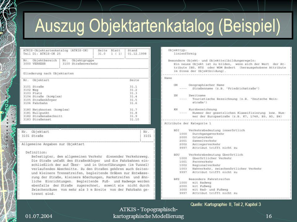 01.07.2004 ATKIS - Topographisch- kartographische Modellierung16 Auszug Objektartenkatalog (Beispiel) Quelle: Kartographie II, Teil 2, Kapitel 3