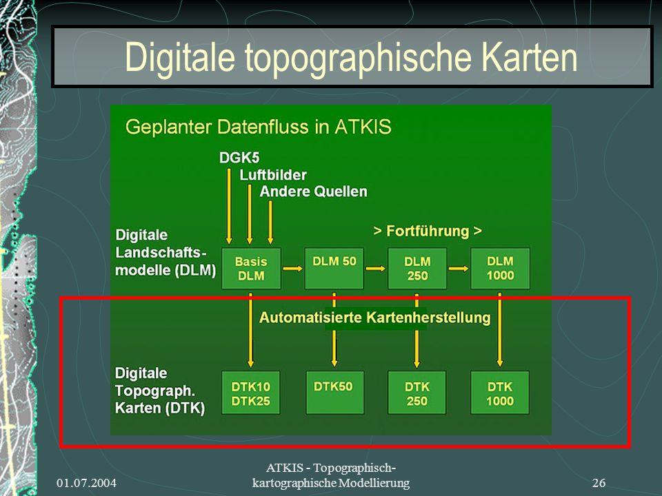 01.07.2004 ATKIS - Topographisch- kartographische Modellierung26 Digitale topographische Karten