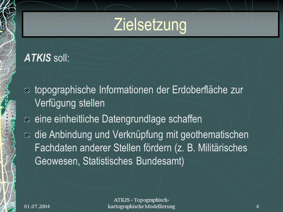 01.07.2004 ATKIS - Topographisch- kartographische Modellierung4 Zielsetzung ATKIS soll: topographische Informationen der Erdoberfläche zur Verfügung s