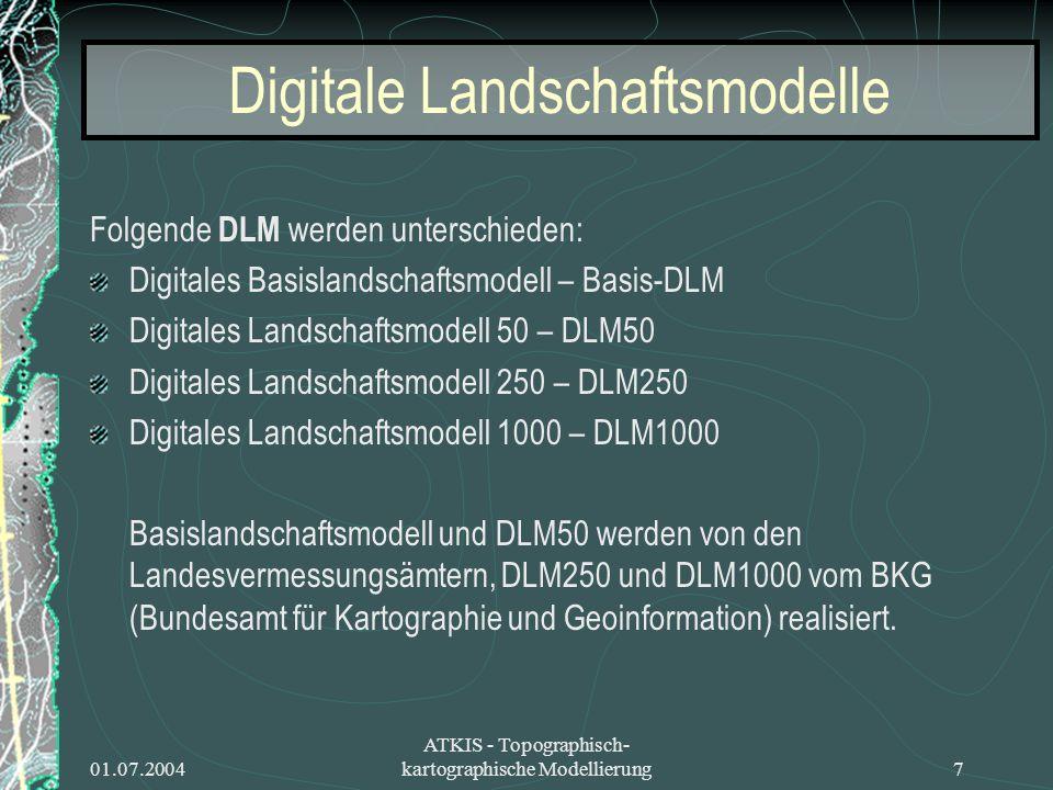 01.07.2004 ATKIS - Topographisch- kartographische Modellierung7 Digitale Landschaftsmodelle Folgende DLM werden unterschieden: Digitales Basislandscha