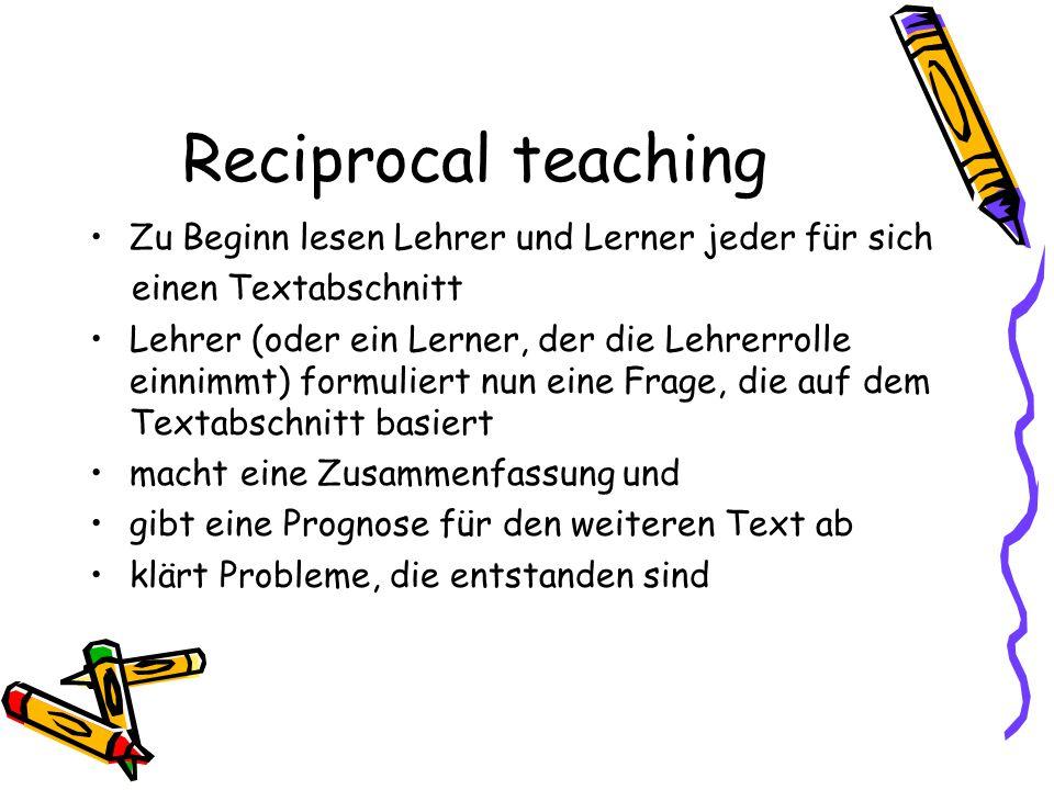 Reciprocal teaching Zu Beginn lesen Lehrer und Lerner jeder für sich einen Textabschnitt Lehrer (oder ein Lerner, der die Lehrerrolle einnimmt) formul
