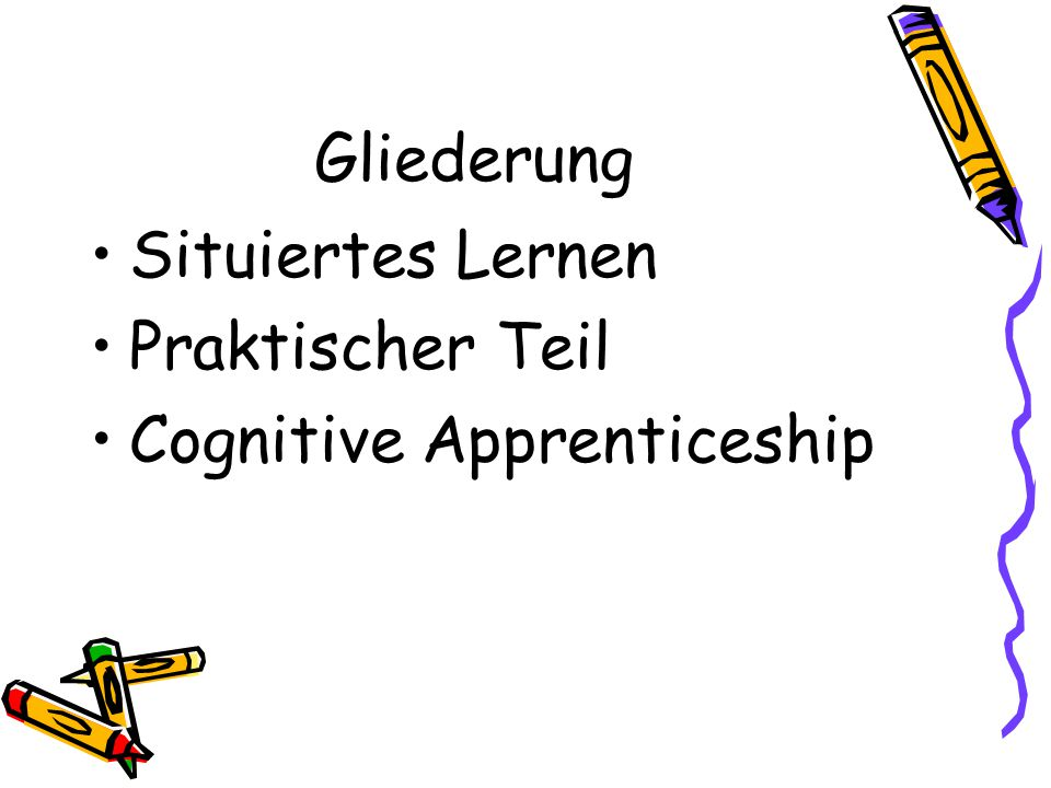 Cognitive Apprenticeship 6.) Exploration Aufforderung an Lernenden entdeckende Aktivitäten auszuführen eigene Lösungswege können ausprobiert werden Auswirkungen erforscht werden eigenständige Aktivität fördert Problemlösefähigkeit Lernende soll Hypothesen bilden und überprüfen unterstützt Einsicht und Verstehen