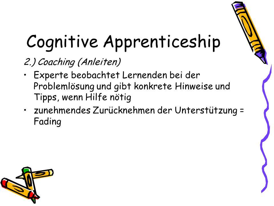 Cognitive Apprenticeship 2.) Coaching (Anleiten) Experte beobachtet Lernenden bei der Problemlösung und gibt konkrete Hinweise und Tipps, wenn Hilfe n