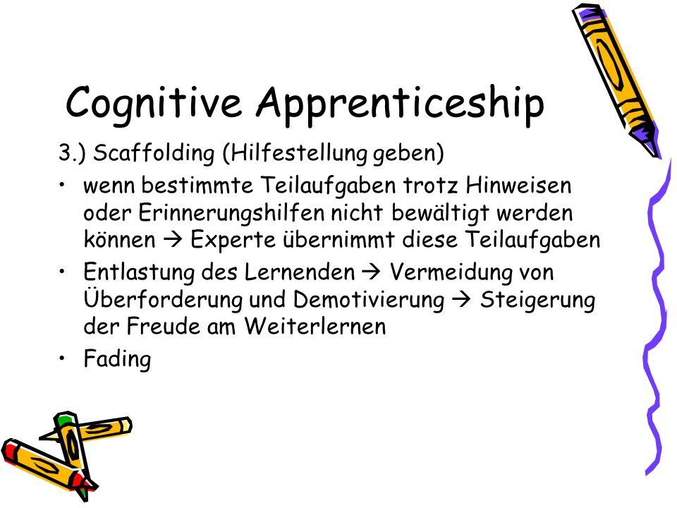 Cognitive Apprenticeship 3.) Scaffolding (Hilfestellung geben) wenn bestimmte Teilaufgaben trotz Hinweisen oder Erinnerungshilfen nicht bewältigt werd