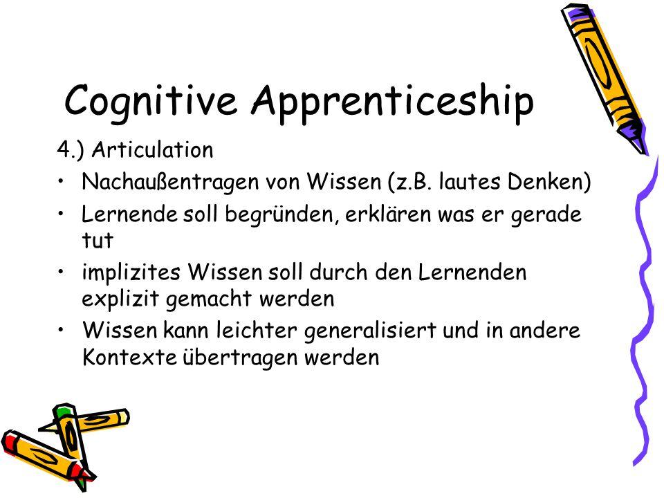 Cognitive Apprenticeship 4.) Articulation Nachaußentragen von Wissen (z.B. lautes Denken) Lernende soll begründen, erklären was er gerade tut implizit