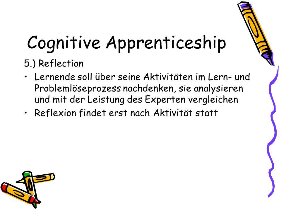 Cognitive Apprenticeship 5.) Reflection Lernende soll über seine Aktivitäten im Lern- und Problemlöseprozess nachdenken, sie analysieren und mit der L