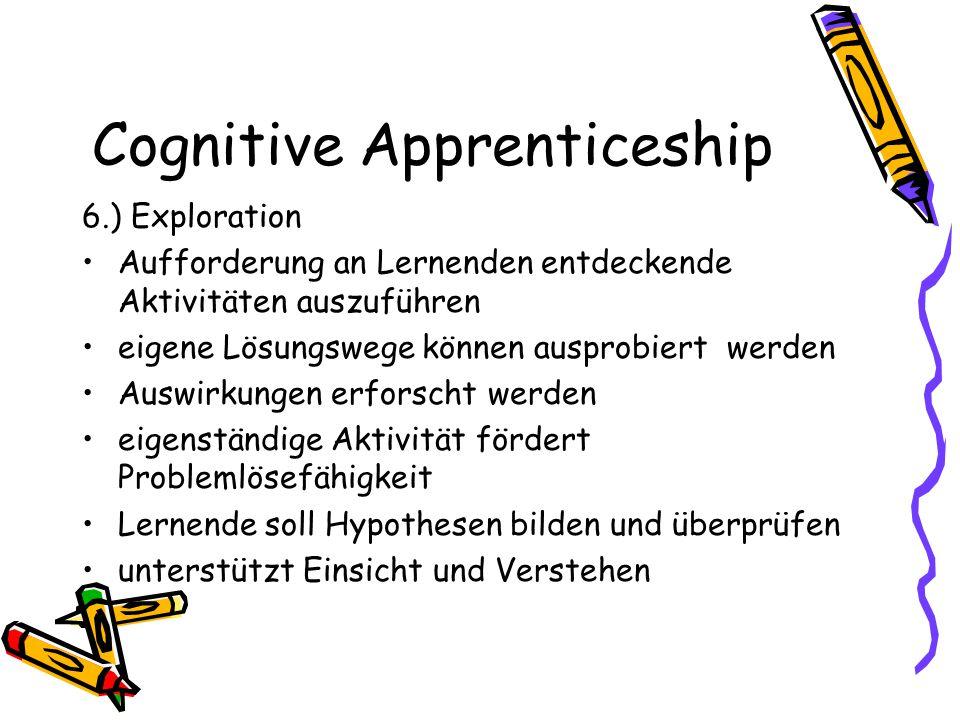 Cognitive Apprenticeship 6.) Exploration Aufforderung an Lernenden entdeckende Aktivitäten auszuführen eigene Lösungswege können ausprobiert werden Au
