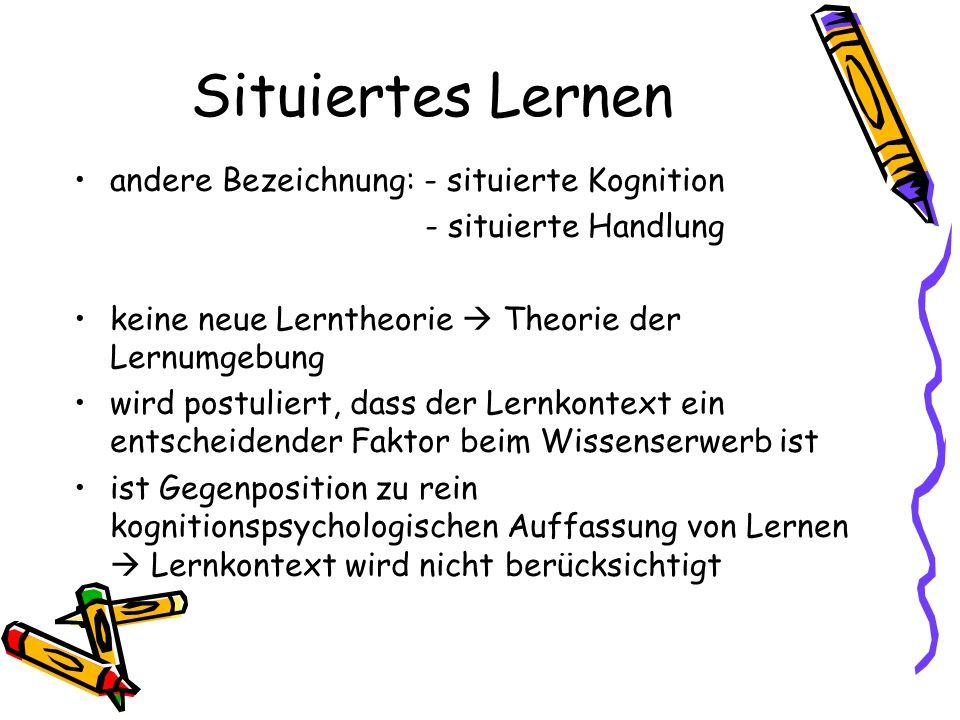 Quellen http://de.wikipedia.org/wiki/Situiertes_Lernen http://www.uni- duisburg.de/FB2/PS/PER/FritzStratmann/Ref/7/SitLernen3_sw.pdfhttp://www.uni- duisburg.de/FB2/PS/PER/FritzStratmann/Ref/7/SitLernen3_sw.pdf http://methodenpool.uni- koeln.de/apprenticeship/frameset_apprenticeship.htmlhttp://methodenpool.uni- koeln.de/apprenticeship/frameset_apprenticeship.html http://www.tu- chemnitz.de/phil/elearning/studentenprojekte/Cognitive%20Apprenticeshi p/cas/http://www.tu- chemnitz.de/phil/elearning/studentenprojekte/Cognitive%20Apprenticeshi p/cas/ Brown, J., Collins, A.