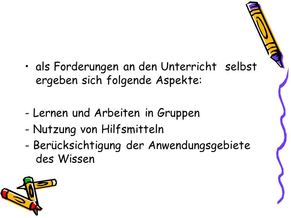 Cognitive Apprenticeship 4.) Articulation Nachaußentragen von Wissen (z.B.