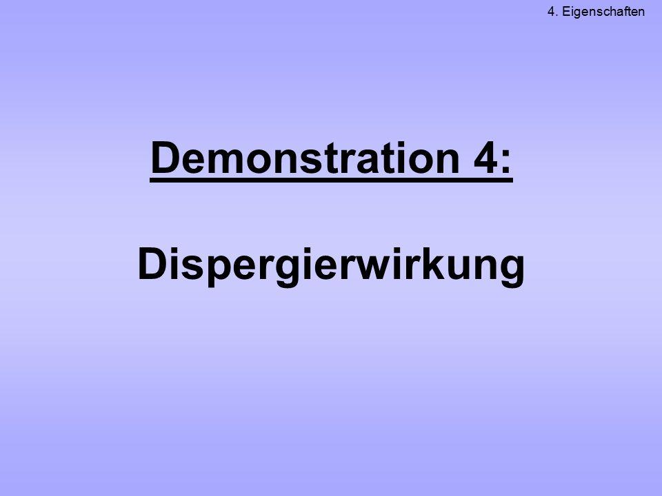 Demonstration 4: Dispergierwirkung 4. Eigenschaften