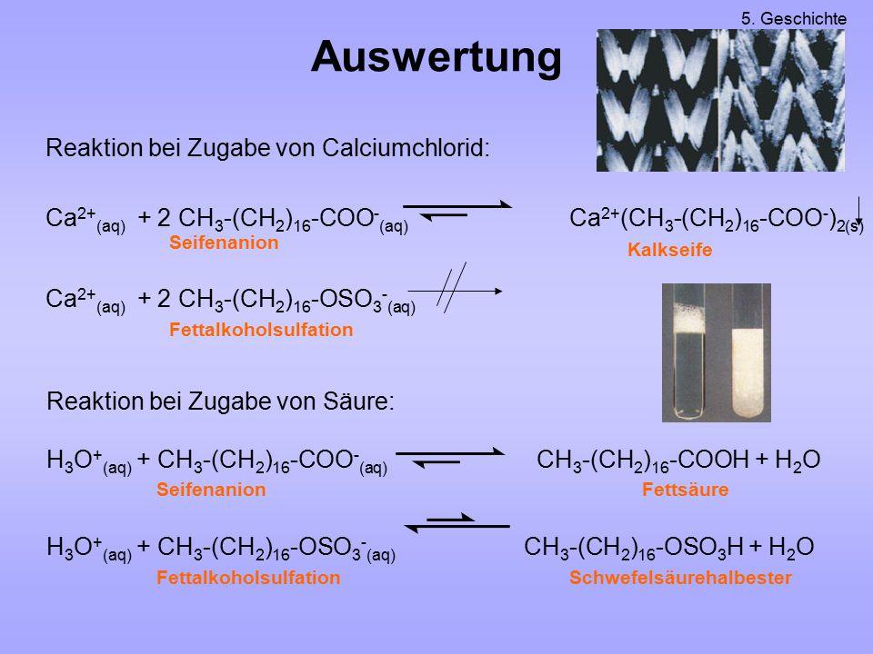 Reaktion bei Zugabe von Säure: H 3 O + (aq) + CH 3 -(CH 2 ) 16 -COO - (aq) CH 3 -(CH 2 ) 16 -COOH + H 2 O H 3 O + (aq) + CH 3 -(CH 2 ) 16 -OSO 3 - (aq