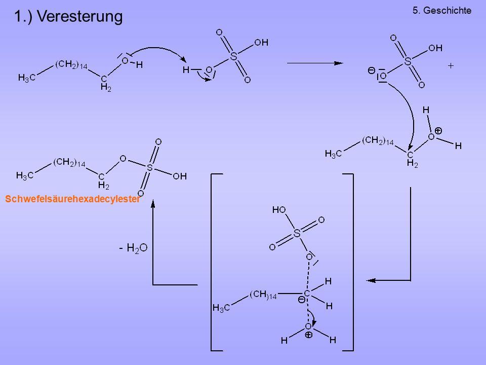 1.) Veresterung 5. Geschichte Schwefelsäurehexadecylester