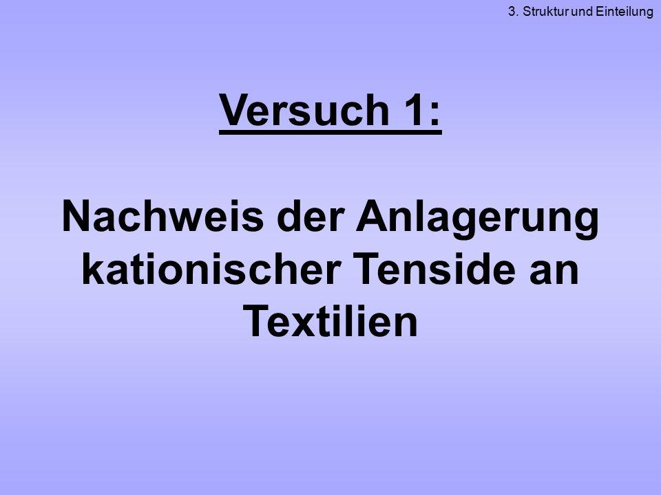 Versuch 1: Nachweis der Anlagerung kationischer Tenside an Textilien 3. Struktur und Einteilung