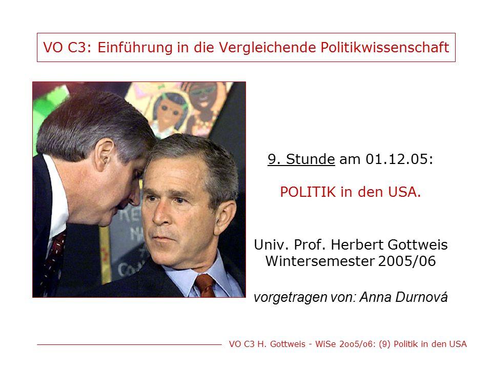 VO C3 H. Gottweis - WiSe 2oo 5 /o 6 : ( 9 ) Politik in den USA VO C3: Einführung in die Vergleichende Politikwissenschaft 9. Stunde am 01.12.05: POLIT