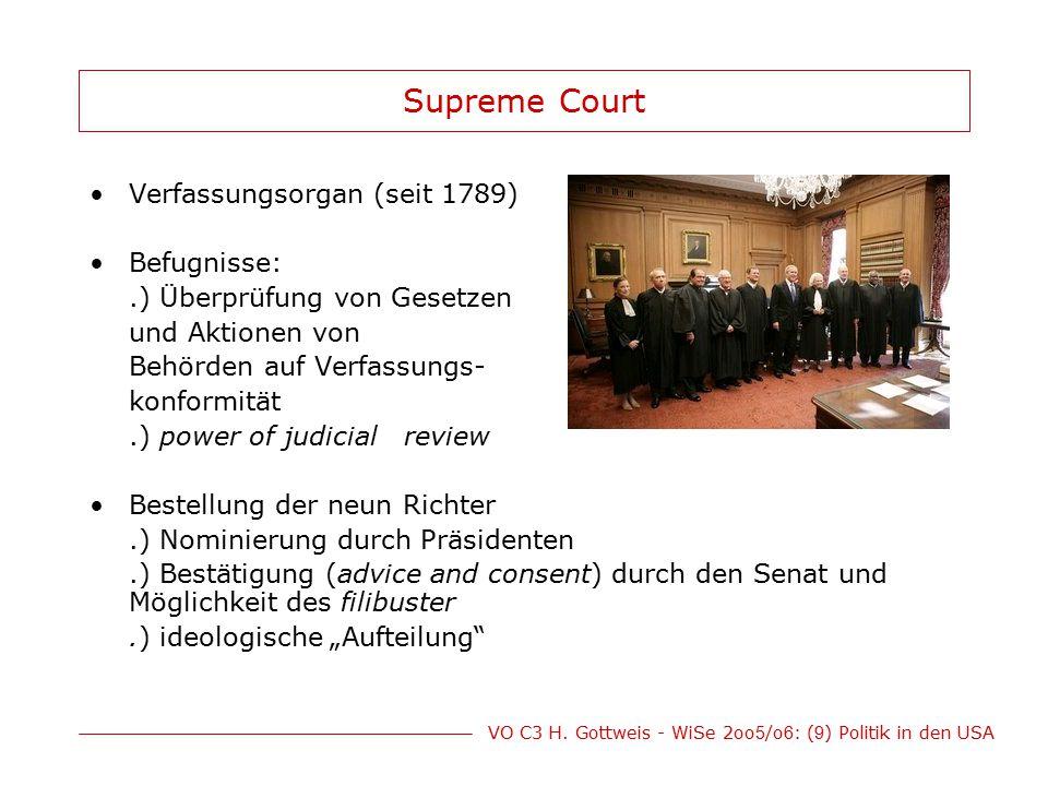 VO C3 H. Gottweis - WiSe 2oo 5 /o 6 : ( 9 ) Politik in den USA Supreme Court Verfassungsorgan (seit 1789) Befugnisse:.) Überprüfung von Gesetzen und A