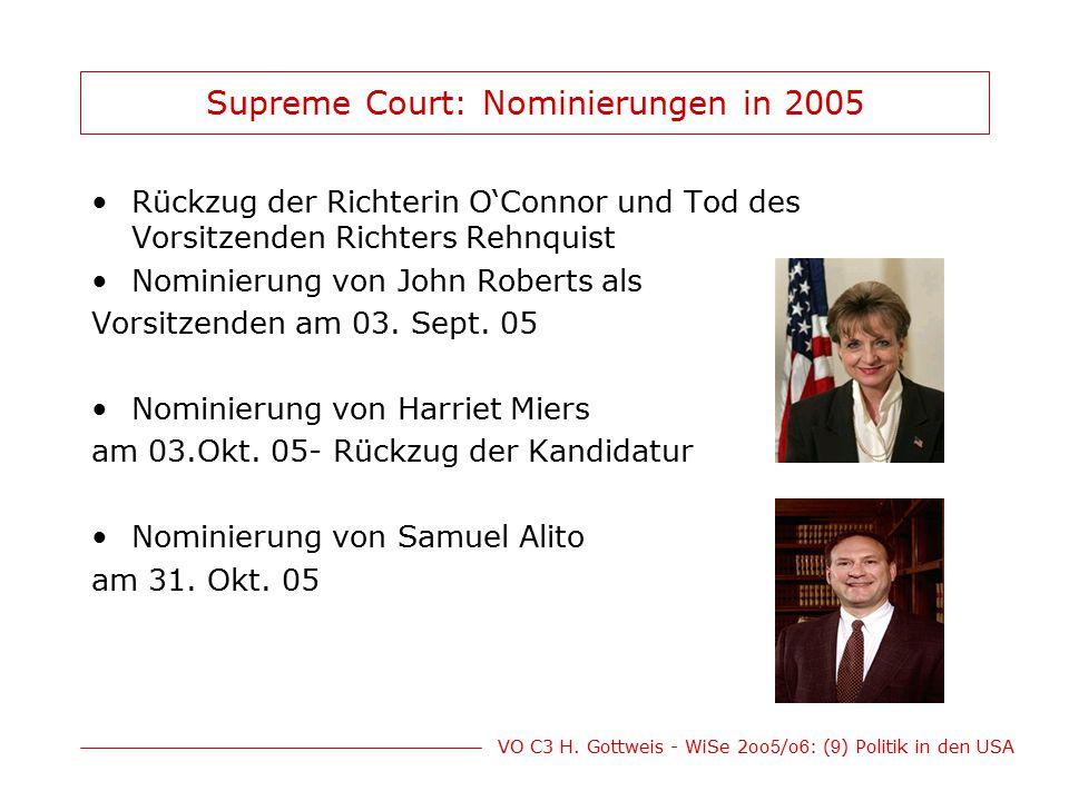 VO C3 H. Gottweis - WiSe 2oo 5 /o 6 : ( 9 ) Politik in den USA Supreme Court: Nominierungen in 2005 Rückzug der Richterin O'Connor und Tod des Vorsitz