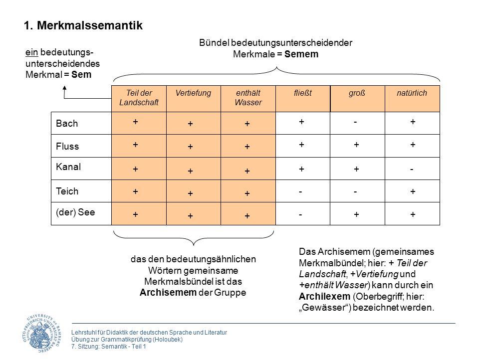 Lehrstuhl für Didaktik der deutschen Sprache und Literatur Übung zur Grammatikprüfung (Holoubek) 7. Sitzung: Semantik - Teil 1 Bach Fluss Kanal Teich