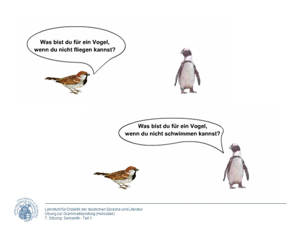 Lehrstuhl für Didaktik der deutschen Sprache und Literatur Übung zur Grammatikprüfung (Holoubek) 7. Sitzung: Semantik - Teil 1