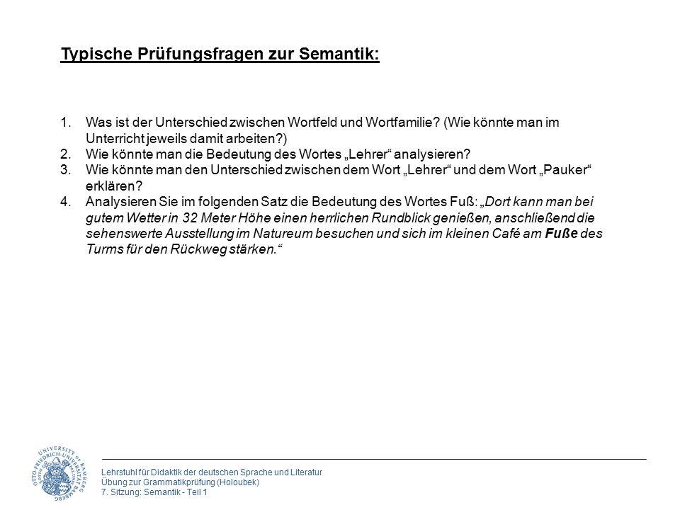 Lehrstuhl für Didaktik der deutschen Sprache und Literatur Übung zur Grammatikprüfung (Holoubek) 7. Sitzung: Semantik - Teil 1 Typische Prüfungsfragen