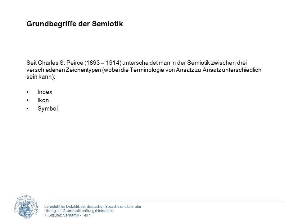 Lehrstuhl für Didaktik der deutschen Sprache und Literatur Übung zur Grammatikprüfung (Holoubek) 7. Sitzung: Semantik - Teil 1 Grundbegriffe der Semio