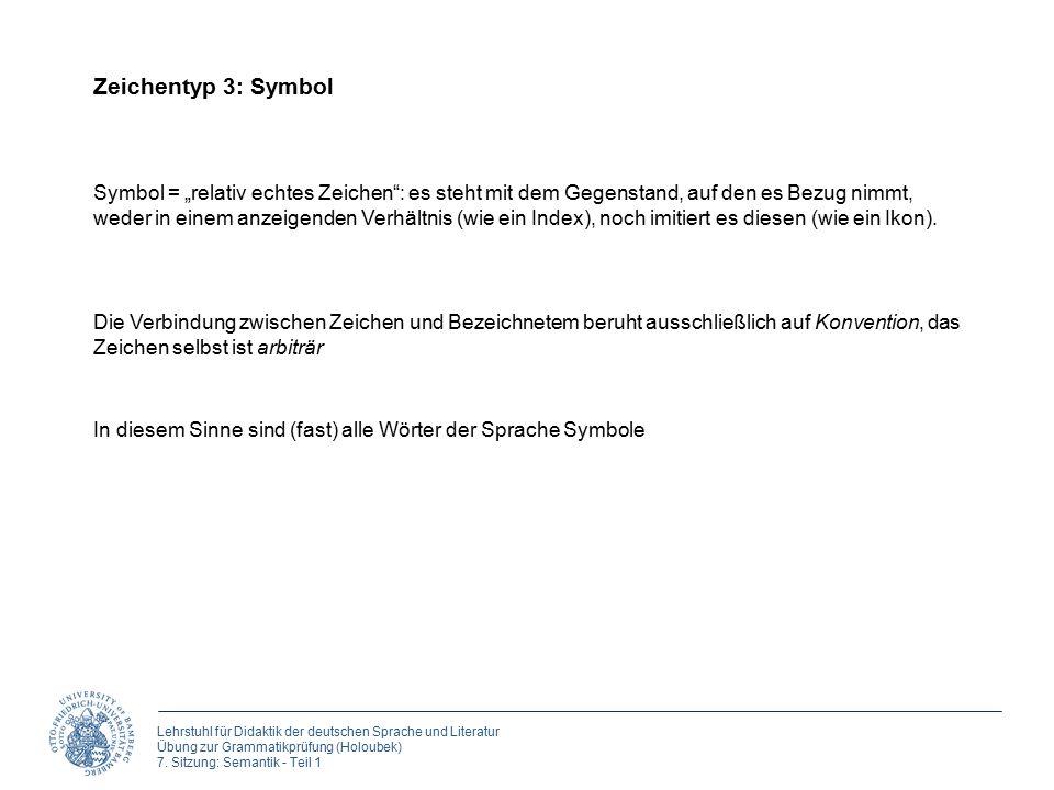 Lehrstuhl für Didaktik der deutschen Sprache und Literatur Übung zur Grammatikprüfung (Holoubek) 7. Sitzung: Semantik - Teil 1 Zeichentyp 3: Symbol Sy