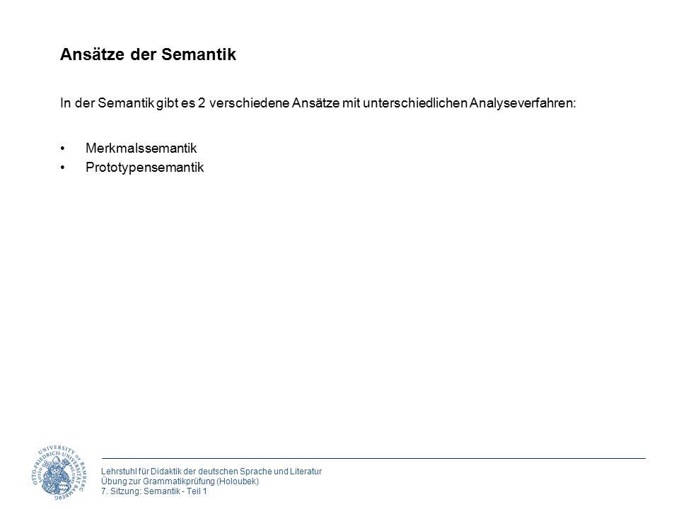 Lehrstuhl für Didaktik der deutschen Sprache und Literatur Übung zur Grammatikprüfung (Holoubek) 7. Sitzung: Semantik - Teil 1 Ansätze der Semantik Me
