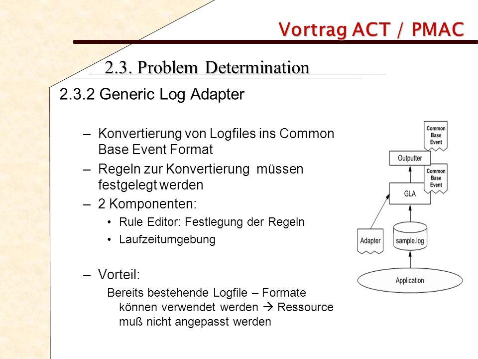 Vortrag ACT / PMAC 2.3. Problem Determination 2.3.2 Generic Log Adapter –Konvertierung von Logfiles ins Common Base Event Format –Regeln zur Konvertie