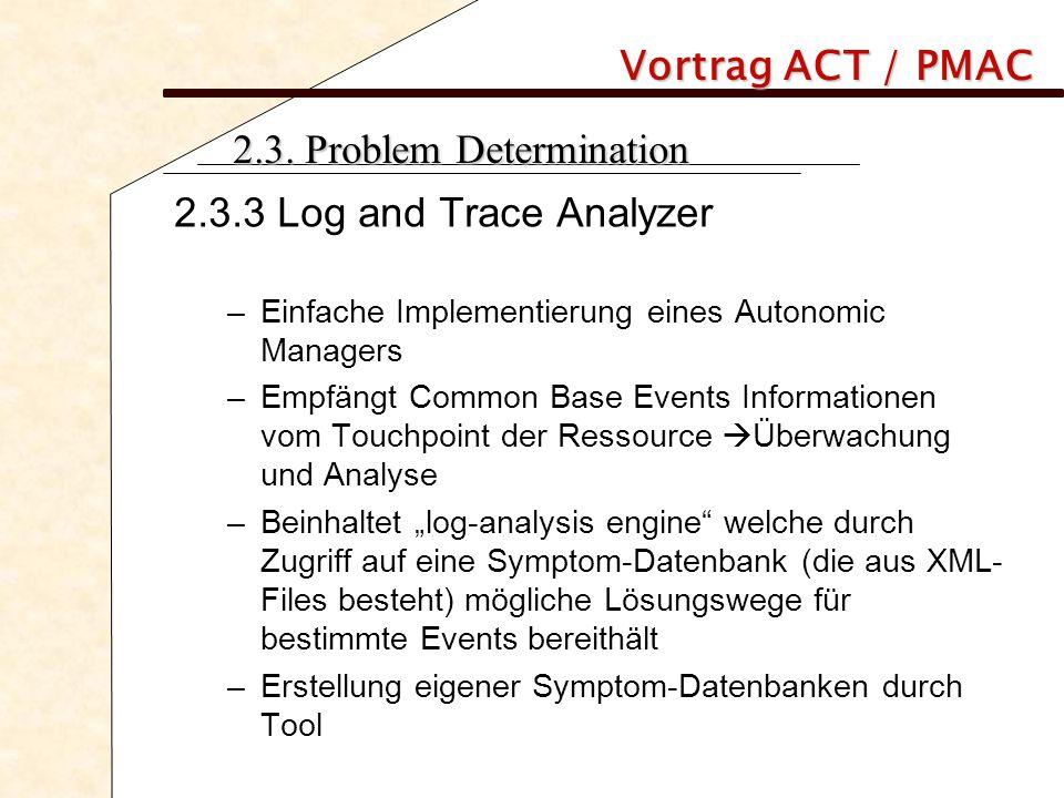 Vortrag ACT / PMAC 2.3. Problem Determination 2.3.3 Log and Trace Analyzer –Einfache Implementierung eines Autonomic Managers –Empfängt Common Base Ev