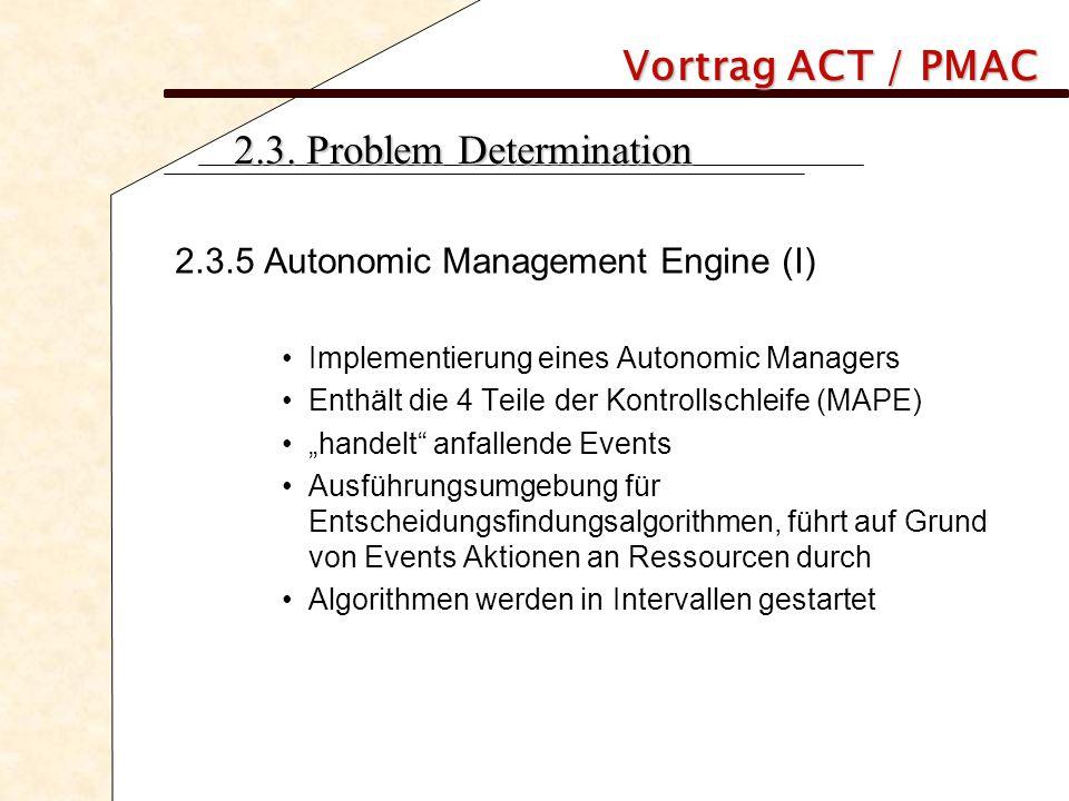 Vortrag ACT / PMAC 2.3. Problem Determination 2.3.5 Autonomic Management Engine (I) Implementierung eines Autonomic Managers Enthält die 4 Teile der K