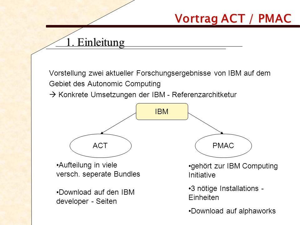 Vortrag ACT / PMAC 1. Einleitung Vorstellung zwei aktueller Forschungsergebnisse von IBM auf dem Gebiet des Autonomic Computing  Konkrete Umsetzungen