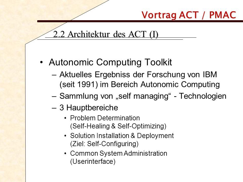 Vortrag ACT / PMAC 2.2 Architektur des ACT (II) ACT kann unterteilt werden in: Technologien Tools Szenarios Dokumentation und Information Übersicht Komponenten: