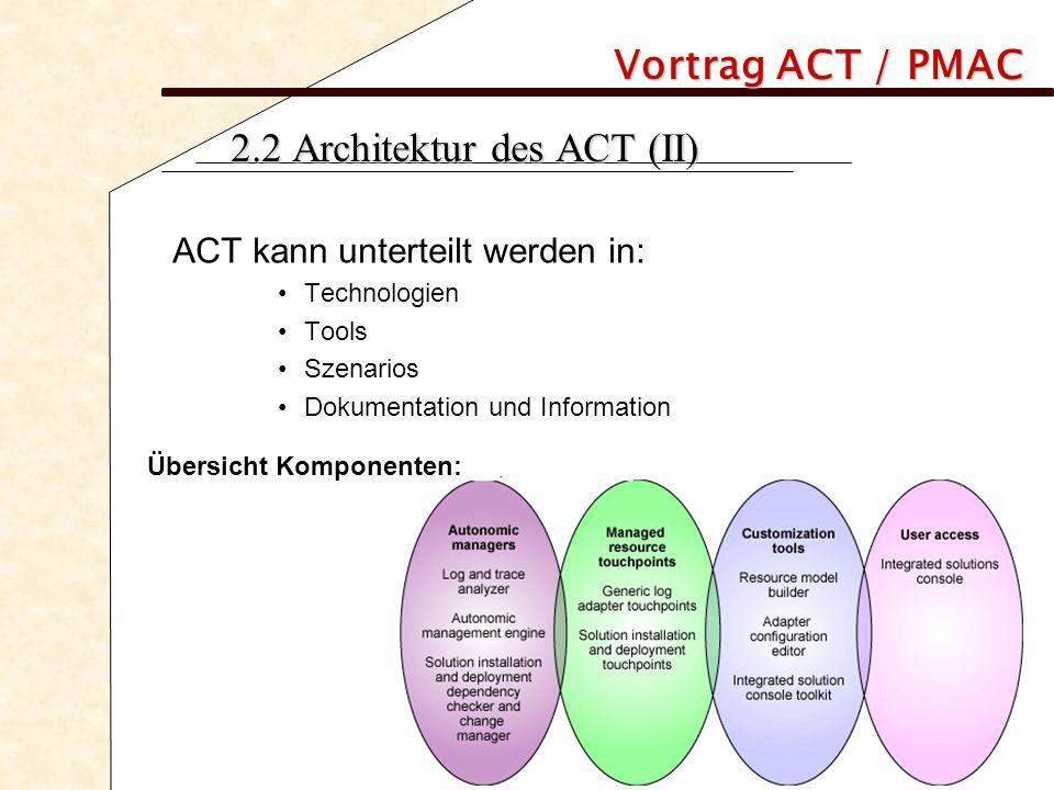 Vortrag ACT / PMAC 2.2 Architektur des ACT (II) ACT kann unterteilt werden in: Technologien Tools Szenarios Dokumentation und Information Übersicht Ko