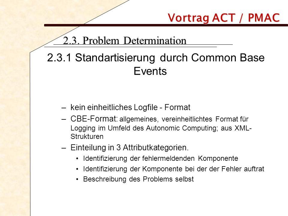 Vortrag ACT / PMAC 2.3. Problem Determination 2.3.1 Standartisierung durch Common Base Events –kein einheitliches Logfile - Format –CBE-Format: allgem