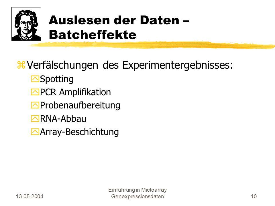13.05.2004 Einführung in Mictoarray Genexpressionsdaten10 Auslesen der Daten – Batcheffekte zVerfälschungen des Experimentergebnisses: ySpotting yPCR