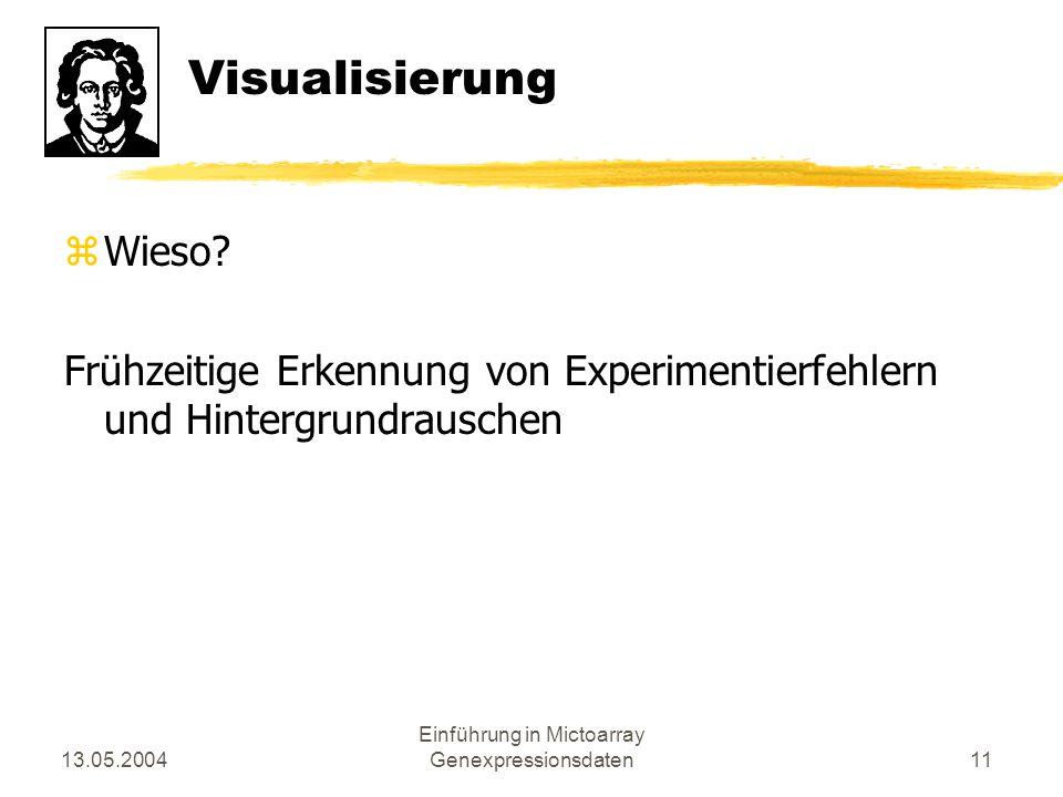 13.05.2004 Einführung in Mictoarray Genexpressionsdaten11 Visualisierung zWieso? Frühzeitige Erkennung von Experimentierfehlern und Hintergrundrausche