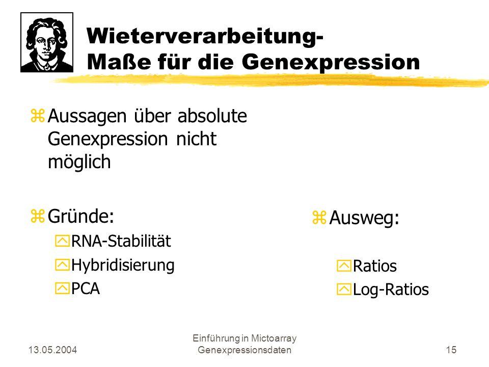13.05.2004 Einführung in Mictoarray Genexpressionsdaten15 Wieterverarbeitung- Maße für die Genexpression zAussagen über absolute Genexpression nicht m