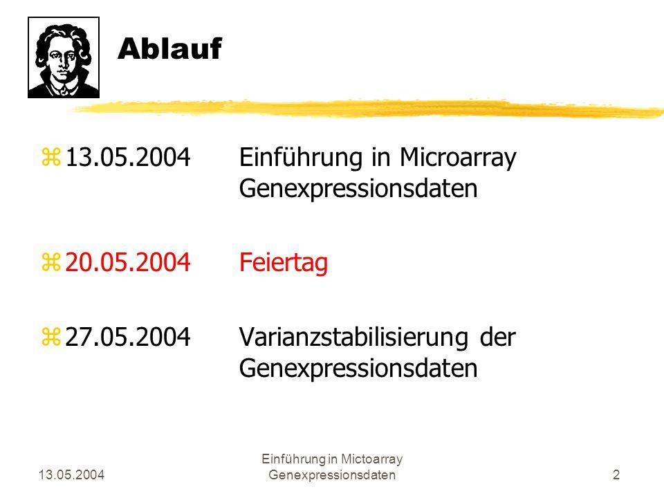 13.05.2004 Einführung in Mictoarray Genexpressionsdaten3 Inhalt zEinleitung zDurchführung eines Microarray-Experiments zAuslesen der Daten zVisualisierung zWeiterverarbeitung zMustererkennung