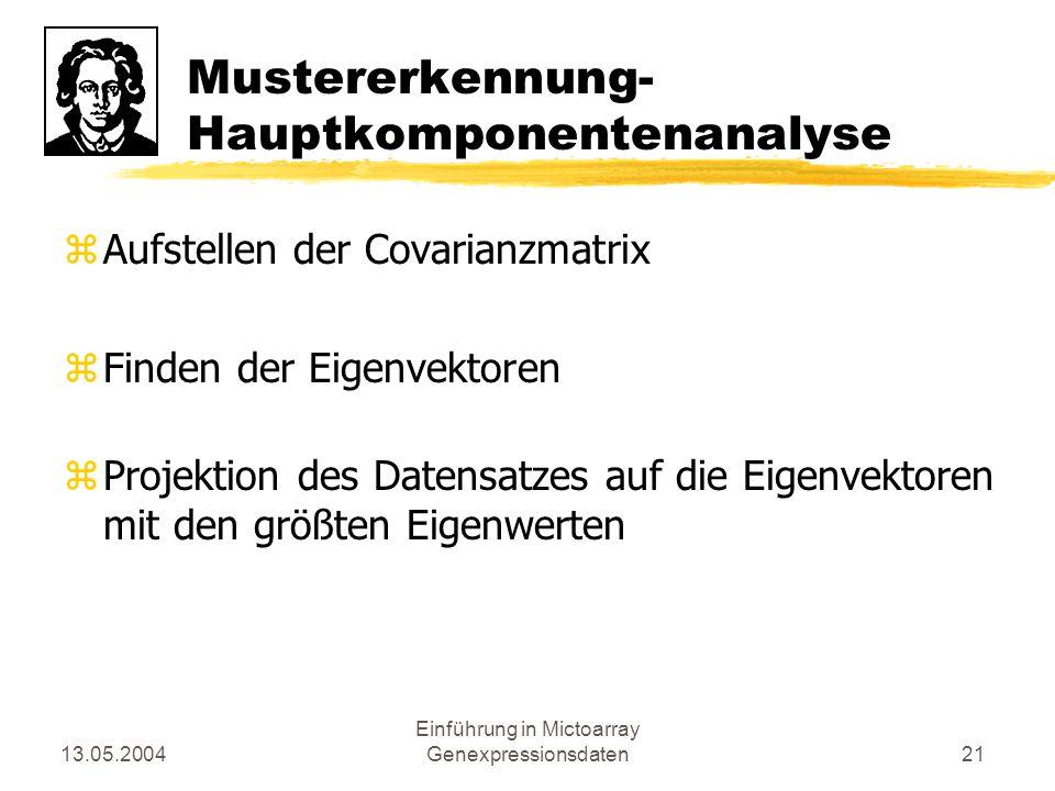 13.05.2004 Einführung in Mictoarray Genexpressionsdaten21 Mustererkennung- Hauptkomponentenanalyse zAufstellen der Covarianzmatrix zFinden der Eigenve