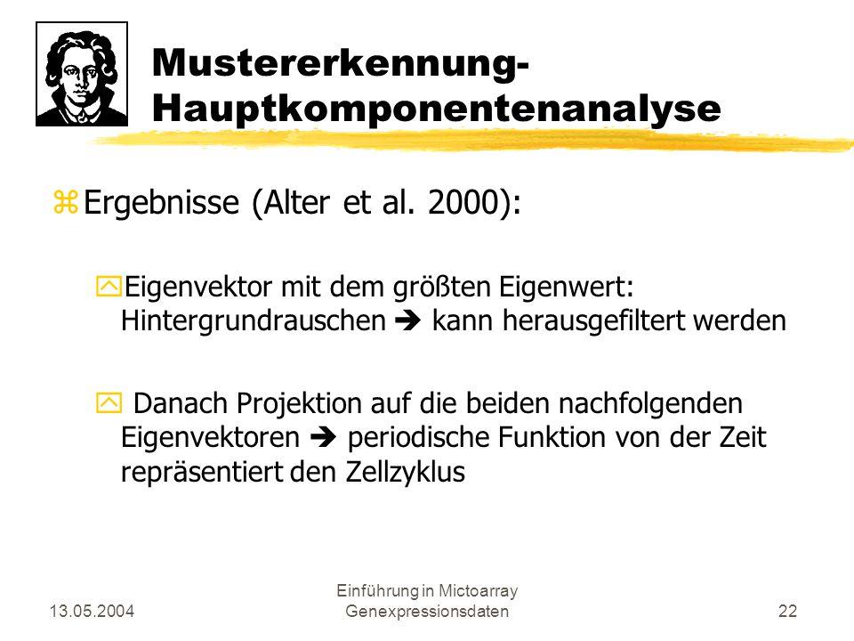 13.05.2004 Einführung in Mictoarray Genexpressionsdaten22 Mustererkennung- Hauptkomponentenanalyse zErgebnisse (Alter et al. 2000): yEigenvektor mit d