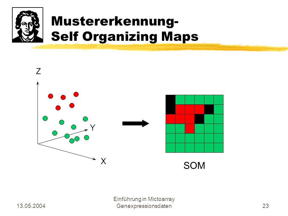 13.05.2004 Einführung in Mictoarray Genexpressionsdaten23 Mustererkennung- Self Organizing Maps X Z Y SOM