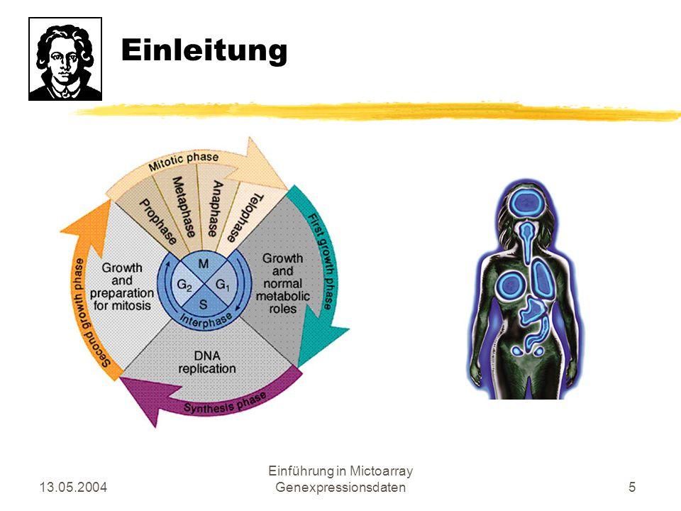 13.05.2004 Einführung in Mictoarray Genexpressionsdaten6 Einleitung zProf.